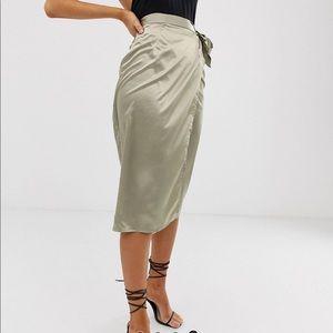 Missguided Satin Wrap Skirt